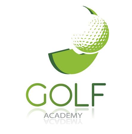 Ilustración de Golf icon with green ball and dynamic shape, isolated, vector illustration - Imagen libre de derechos