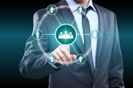 Photo pour business, technology and internet concept - businessman pressing button on virtual screens - image libre de droit