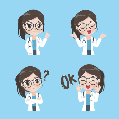 Illustrazione per Lady doctor show a variety of gestures  emotion and actions in work clothes. - Immagini Royalty Free