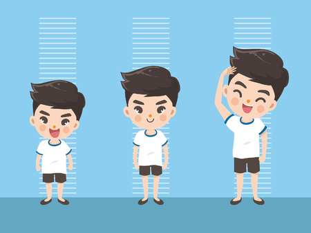 Ilustración de Height of child grow up. Little boy measuring his height on white color background. One boy in three levels. Short, medium, high,Height. difference child growth concepts. - Imagen libre de derechos
