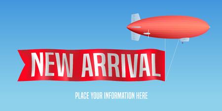 Illustration pour New arrival vector banner, illustration. Zeppelin ad red flag with new arrival sign for shops, stores - image libre de droit