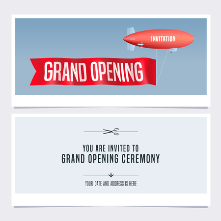 Illustration pour Grand opening vector illustration, invitation card for new store. Template banner with retro blimp, invite for opening event, red ribbon cutting ceremony - image libre de droit