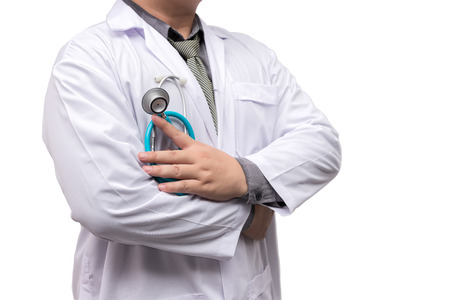 Photo pour Doctor standing arms crossed with stethoscope isolated on white background - image libre de droit