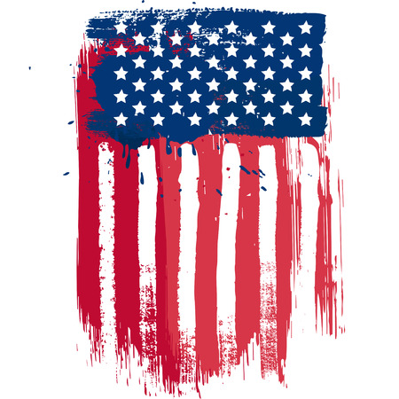 Illustration pour Vertical composition vector american flag in grunge style - image libre de droit
