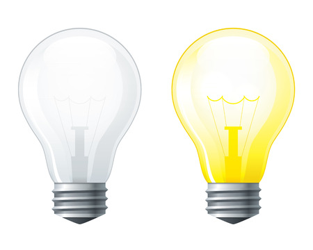 Illustrazione per Light bulbs set, turned off and glowing yellow light bulb  - Immagini Royalty Free