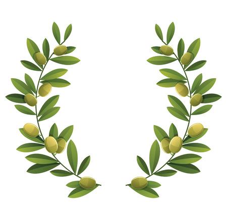 Illustration pour Green olive wreath. - image libre de droit