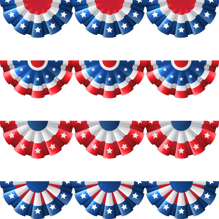Illustration pour US flag round bunting decoration, isolated vector set for american Independence day celebration - image libre de droit
