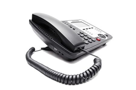Photo pour black IP phone closeup on white background - image libre de droit
