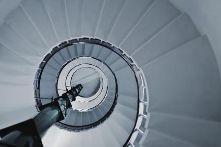 Foto de Old Spiral staircase close up. Architectural detail - Imagen libre de derechos