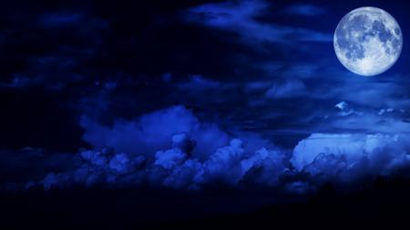 Foto de Blue night sky with a full bright moon - Imagen libre de derechos