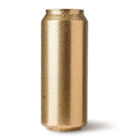 Foto de golden cans isolated on white - Imagen libre de derechos
