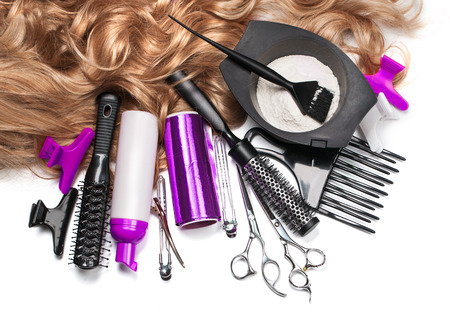 Foto de hairdresser Accessories for coloring hair on a white background - Imagen libre de derechos