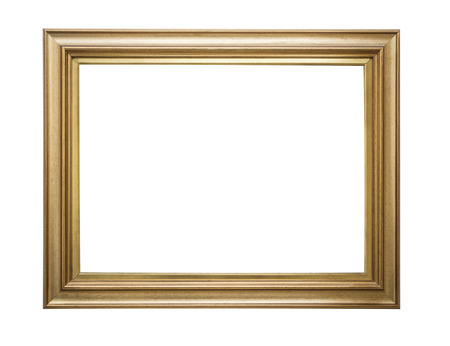 Photo pour Gold frame. Goldgilded arts and crafts pattern picture frame. Isolated on white - image libre de droit