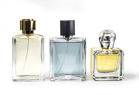 Photo pour Studio photo of set of luxury perfume bottles. Isolated on white background with clipping path - image libre de droit