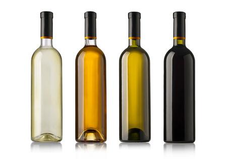 Foto de Set of white, rose, and red wine bottles. isolated on white background - Imagen libre de derechos