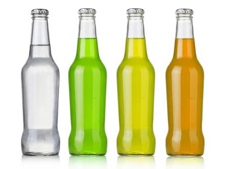 Photo pour Four assorted soda bottles, non-alcoholic drinks - image libre de droit
