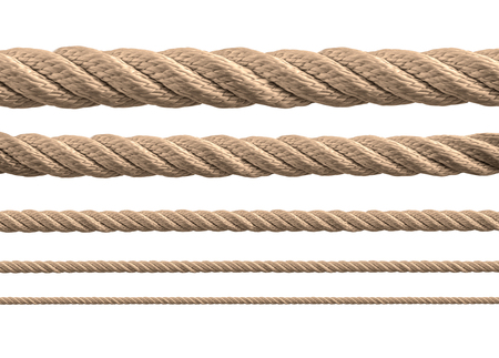 Foto per collection of various ropes on white background. each one is shot separately - Immagine Royalty Free