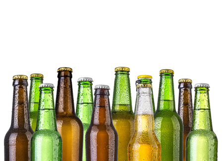 Foto de Frosty bottles of beer isolated on a white background - Imagen libre de derechos