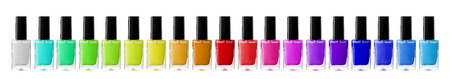 Photo pour Group of bright nail polishes isolated on white - image libre de droit