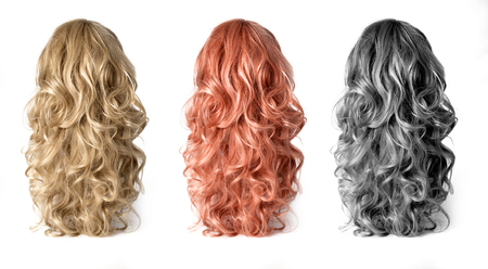 Photo pour Set  of long Wigs hair isolated on white - image libre de droit