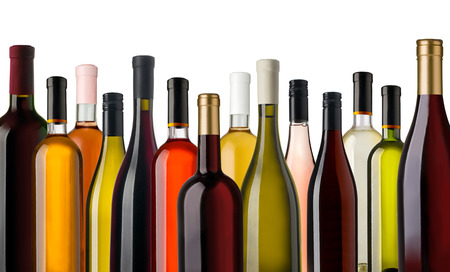Photo pour Some wine bottles in front of white background - image libre de droit