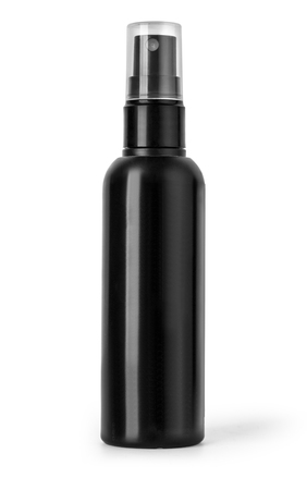 Photo for Black plastic bottle spray for hair on a white background. - Royalty Free Image