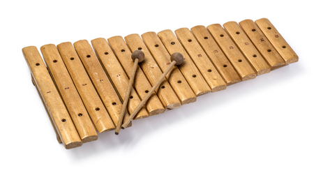 Foto de The xylophone and two mallets isolated on the white background. - Imagen libre de derechos