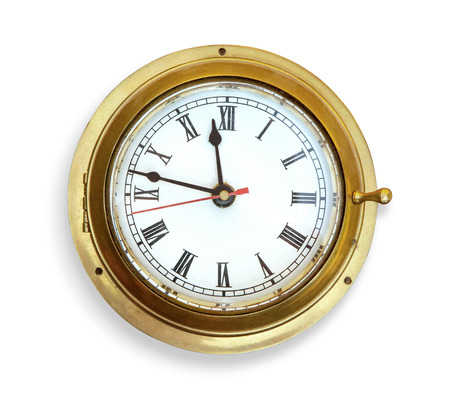 Foto de Old vintage ship's clock. Isolated on white - Imagen libre de derechos