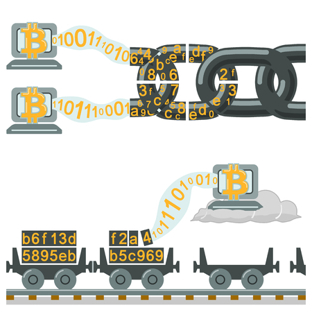 Illustration for Blockchain technology as chain or railway wagons - Royalty Free Image
