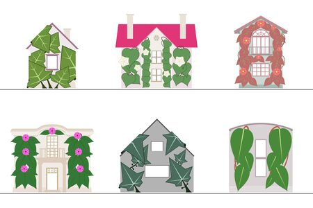 Ilustración de Green wall and green facade systems with no gradients - Imagen libre de derechos