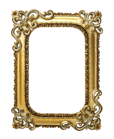 Photo for Gold vintage frame isolated on white background - Royalty Free Image