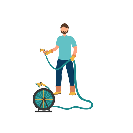 Illustration pour Man is watering  from the hose. Concept of gardening. Vector illustration in flat style - image libre de droit