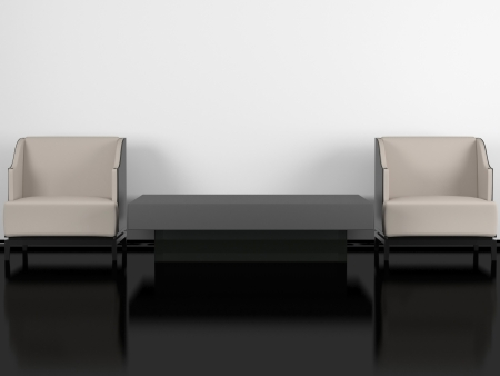 Modern living room, black glossy floor white wall, two modern armchairs with coffee table, 3d render/illustration