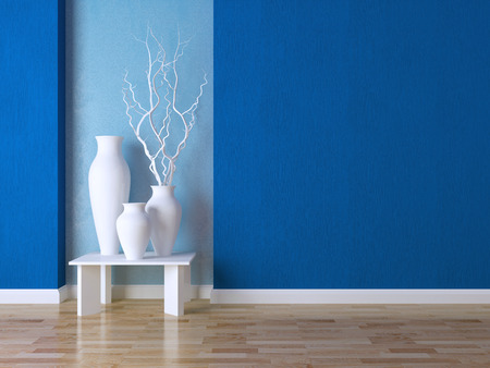 Detail shot of modern living room wall. Luxury interior design, vases on the table.