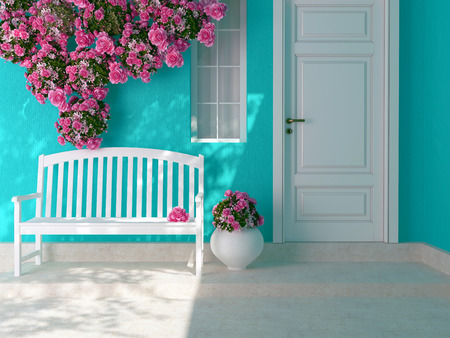 Photo for Front view of a wooden white door on a blue house with window. Beautiful roses and bench on the porch. Entrance of a house. - Royalty Free Image