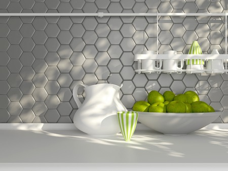Photo pour Kitchen utensils on the white worktop. Ceramic kitchenware in front of modern wall tile. - image libre de droit