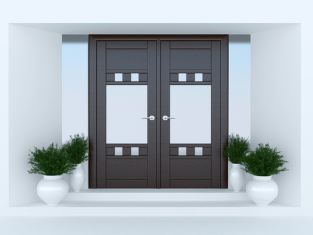 Photo pour Wooden front door of modern house. - image libre de droit