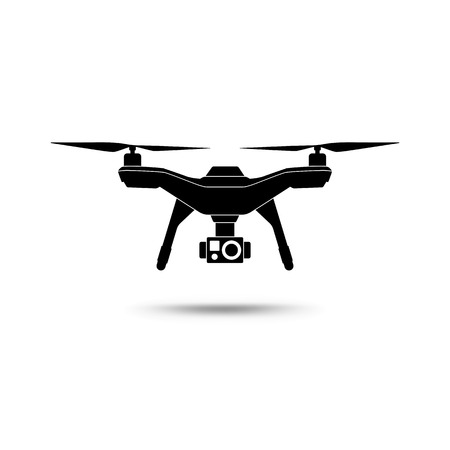 Illustration pour Drone icon. Copter or quadcopter with camera isolated on white background. Vector illustration. - image libre de droit