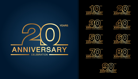 Illustration pour Set of anniversary logotype. Golden anniversary celebration emblem design. Vector illustration. - image libre de droit