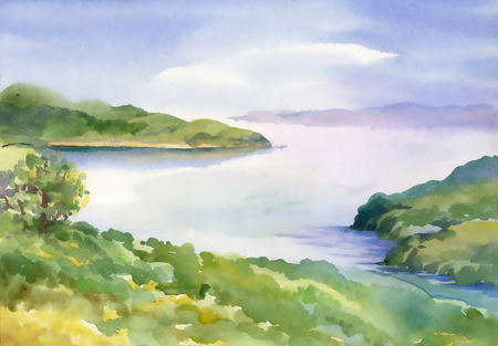 Watercolor river nature landscape
