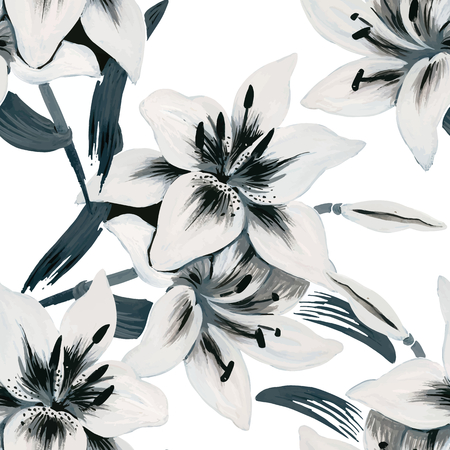 Ilustración de Seamless background of watercolor flowers. Lilies flowers on a white background. - Imagen libre de derechos