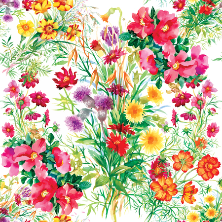 Illustration pour Colorful garden flowers Seamless pattern on white background - image libre de droit