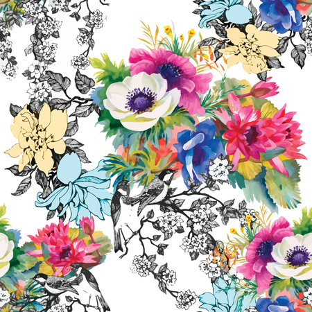 Illustration for Seamless pattern watercolor flowers, paper, textile, fabric, wrapper, wallpaper,vector - Royalty Free Image