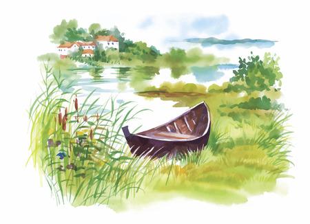 Illustration pour Watercolor rural Landscape with boat vector illustration. - image libre de droit