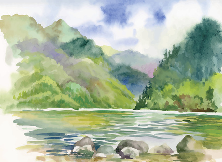 Photo pour Watercolor summer river landscape vector - image libre de droit