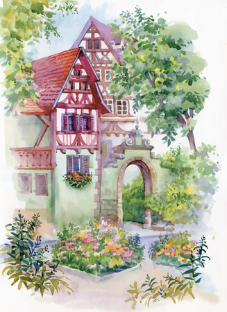 Illustration pour Watercolor painting of house in woods illustration. - image libre de droit