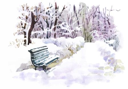 Illustration pour Watercolor winter landscape vector illustration - image libre de droit