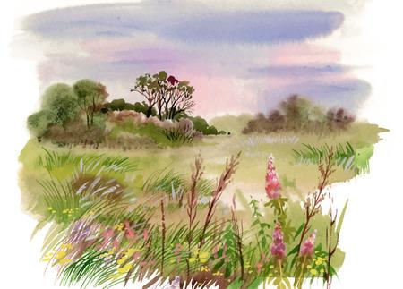 Illustration pour Watercolor summer rural landscape illustration - image libre de droit