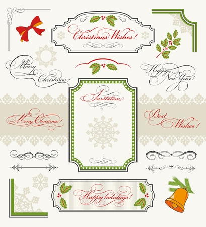 Christmas collection of Design Elements  set of calligraphic texts  Merry Christmas, Happy New Year, Happy Holidays, Best Wishes, Invitation , borders, frames, ornaments, decorations