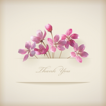 Illustration for Floral Thank you card with beautiful realistic spring pink flowers and banner with drop shadows on a beige elegant background in modern style  Perfect for wedding, greeting or invitation design  - Royalty Free Image